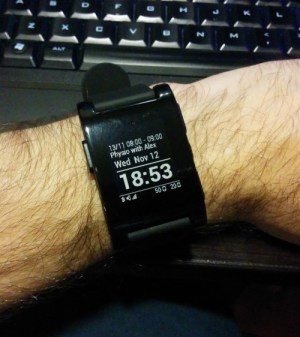 My pebble watch on my wrist